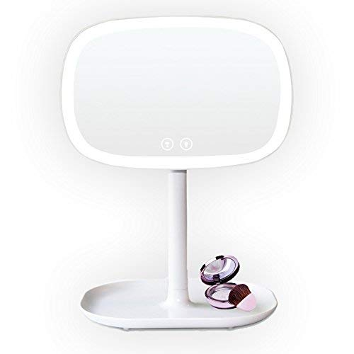 LED Makeup Mirror, 37 LED White Lights Tactile Switch 360 degree Rotation Multi-Power Source 4 AA Batteries or USB Power Cable Countertop Cosmetic Mirror
