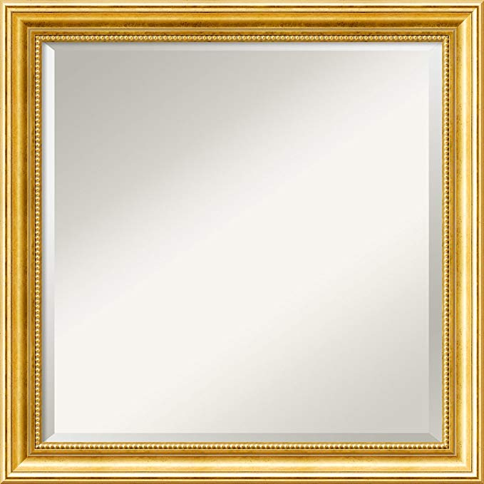 Amanti Art Wall Mirror Square, Townhouse Gold Wood: Outer Size 23 x 23