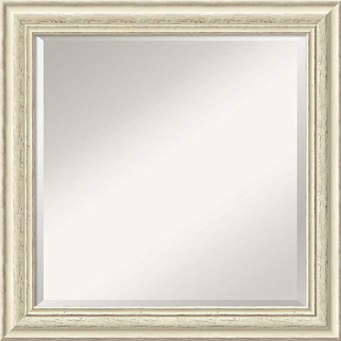 Amanti Art Wall Mirror Square, Country White Wash Wood: Outer Size 24 x 24