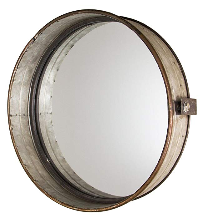 Industrial Chic Drum Mirror in Rustic Galvanized Finish - 16
