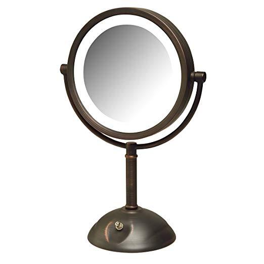 Jerdon HL8808BZL 8X Magnification LED Lighted Table Top Mirror, Bronze