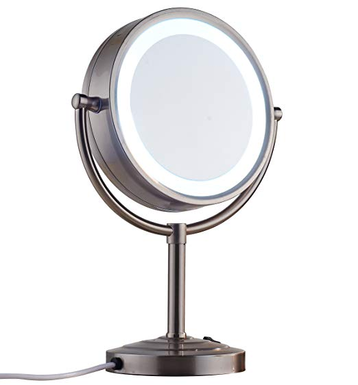 Cavoli 8.5 inch LED Makeup Mirror with 7x Magnification, Daylight Tabletop Two-sided,360° Swivel,Metal & Glass, Plug Powered Nickel Finish(8.5in,7x)